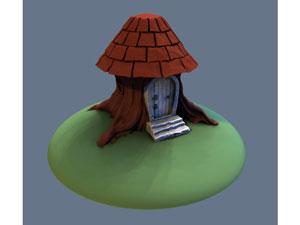 طرح سه بعدی خانه ی قارچی