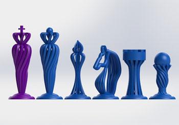 طرح سه بعدی مهره شطرنج منحنی