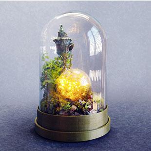 طرح سه بعدی قصر شیشه ای