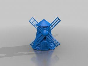 طرح سه بعدی آسیاب بادی