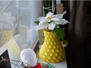 طرح سه بعدی گلدان مکعبی