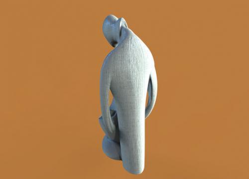طرح سه بعدی مجسمه خانواده