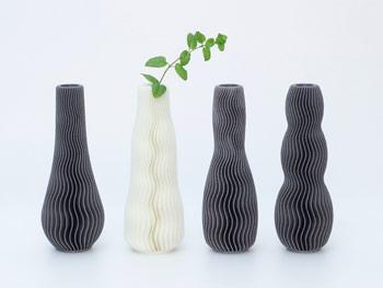 طرح سه بعدی گلدان موج دار