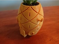 طرح سه بعدی گلدان آناناسی